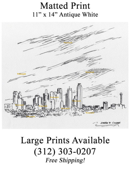 Dallas skyline pen & ink drawing of downtown by Condren.