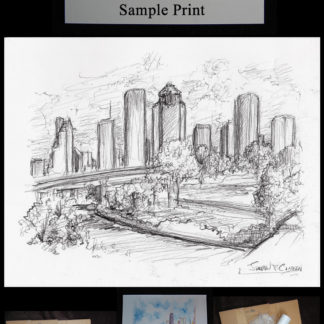 Houston skyline pencil drawing of downtown by Condren.