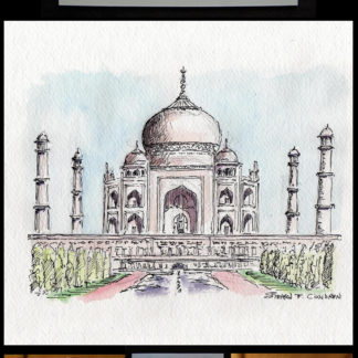 Pen & ink watercolor of the Taj Mahal by Condren.