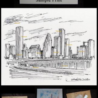 Houston skyline #2962A pen & ink drawing with prints & scans.
