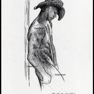 Naked gay cowboy #437A figure drawings and charcoal pencil with prints at Condren Galleries.