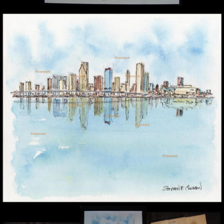 Miami skyline #580A pen & ink watercolor with JPEG scans.
