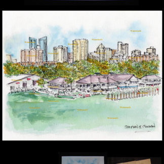 Ft. Lauderdale downtown skyline pen & ink watercolor.