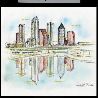 Tampa Skyline #585A pen & ink watercolor with JPEG scans.
