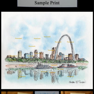 St. Louis Skylne #587A pen & ink watercolor with JPEG scans.