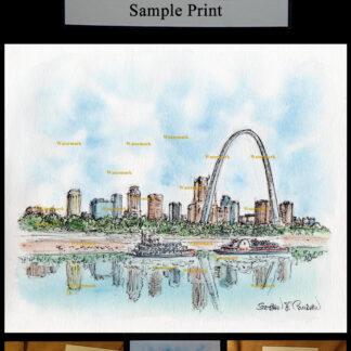 St. Louis downtown skyline pen & ink watercolor.