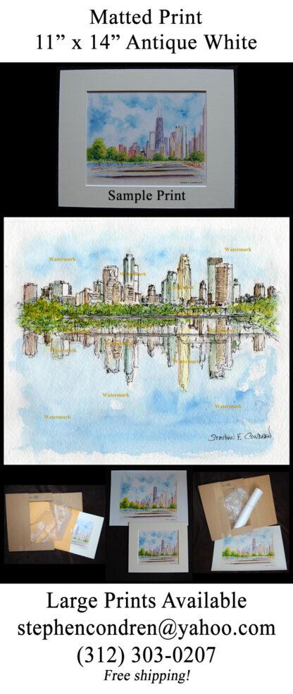 Minneapolis Skyline #594A pen & ink watercolor.