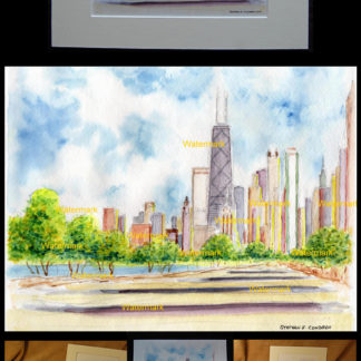 Chicago skyline watercolor on North Lake Shore Drive.