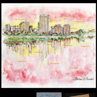 Richmond skyline #616A pen & ink sunset watercolor & scans.