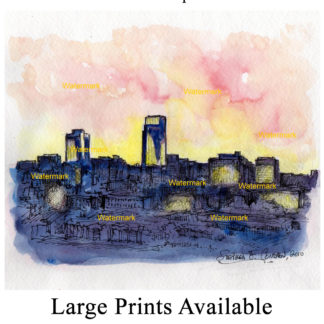 Omaha skyline pen & ink watercolor at sunset by Condren.