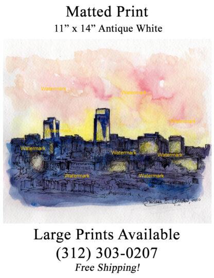 Omaha skyline pen & ink watercolor at sunset by Condren.