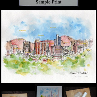 Phoenix skyline pen & ink watercolor by Condren.