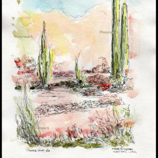 Pen & ink watercolor of Phoenix AZ desert landscape.