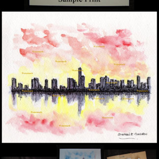 Pen & ink watercolor of Miami skyline at sunset.