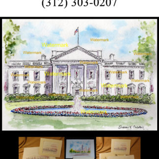 Pen & ink watercolor of the White House By Condren.