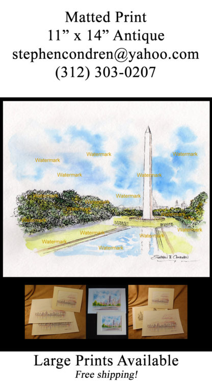 Pen & ink watercolor of the Washington Monument