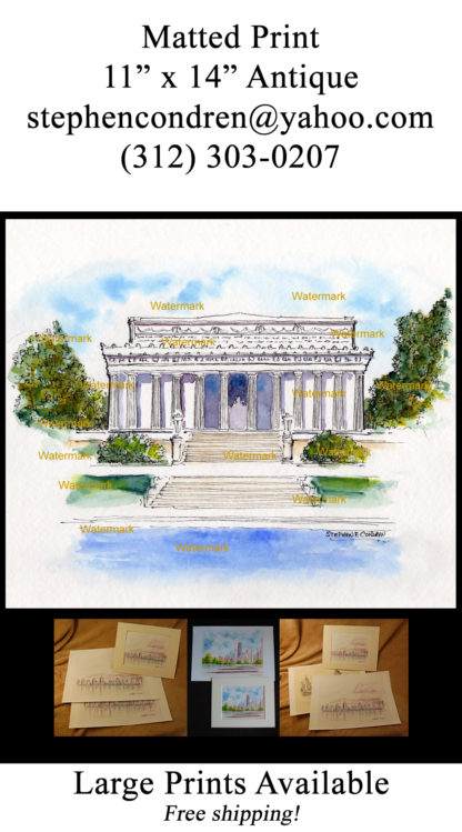 Pen & ink watercolor of the Lincoln Memorial.