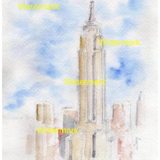 Pen & ink watercolor of the Empire State Building.