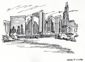 Downtown Chicago skyline pen & ink drawing by Condren.