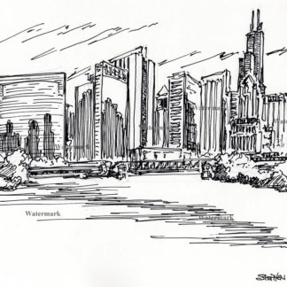 Chicago downtown skyline #741A pen & ink cityscape drawing of the Loop and the river.