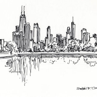 Chicago skyline pen & ink drawing from Lincoln Park.