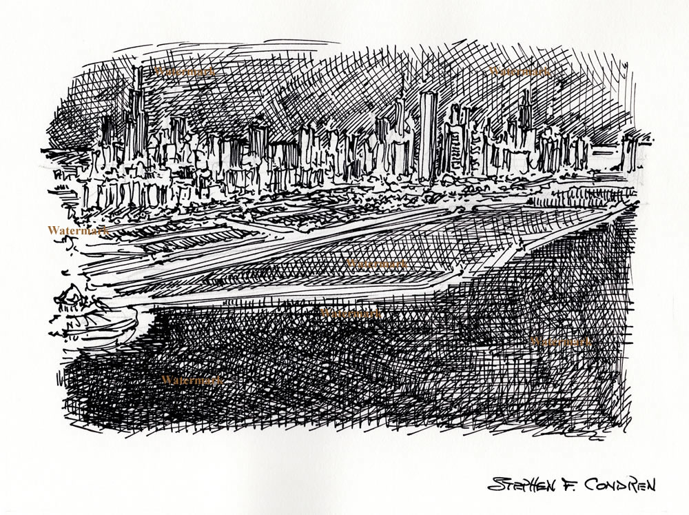Chicago downtown skyline pen & ink at night by Condren.