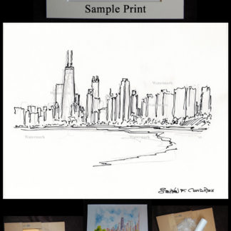 Chicago skyline pen & ink sketch of North Lake Shore Drive.