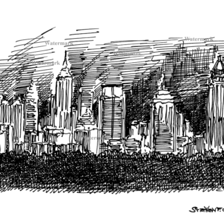 Atlanta skyline #821A pen & ink cityscape drawing is popular because of it's view of downtown at night.