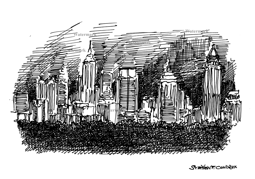 Pen & ink drawing of downtown Atlanta skyline at night.