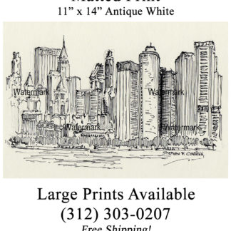 Lower Manhattan skyline pen & ink drawing by Condren.