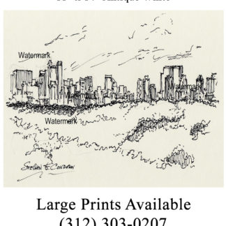 Manhattan Central Park skyline pen & ink drawing.