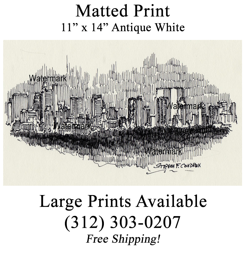 Manhattan skyline #831A night pen & ink drawing with JPEG ...