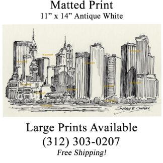 Lower Manhattan skyline pen & ink drawing by Condren.