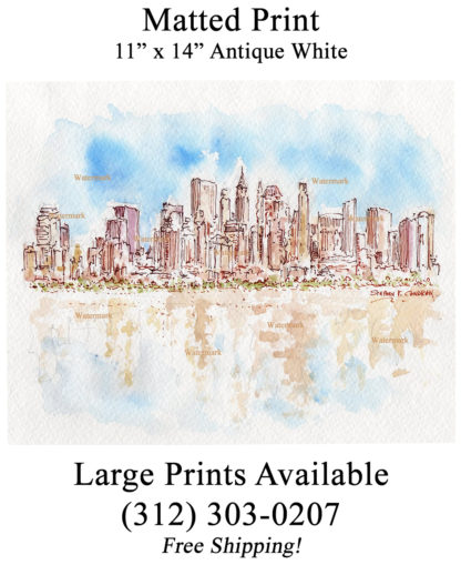 Lower Manhattan skyline pen & ink watercolor by Condren.