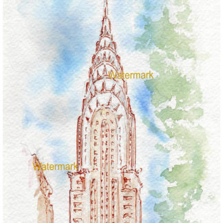 Pen & ink watercolor of the Chrysler Building Manhattan.