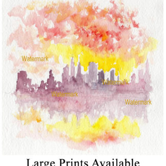 Manhattan Impressionist skyline watercolor at sunset.