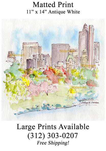 Manhattan Central Park skyline pen & ink watercolor.