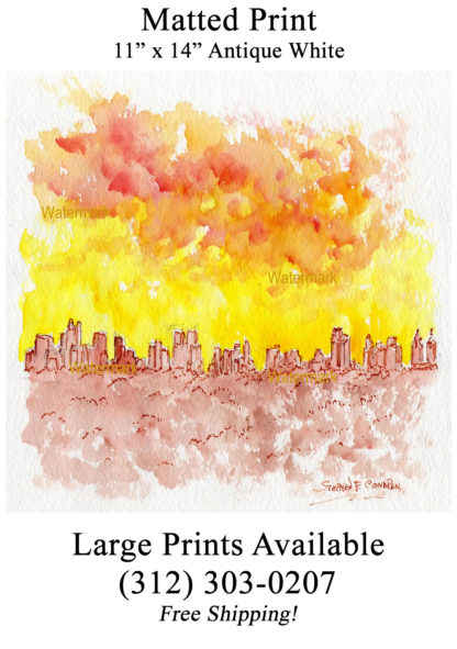 Manhattan skyline pen & ink watercolor at sunset.