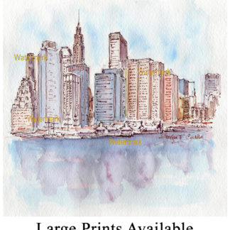 Lower Manhattan skyline pen & ink watercolor by Condren.