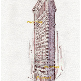 Pen & ink watercolor of the Flatiron Building in Manhattan.