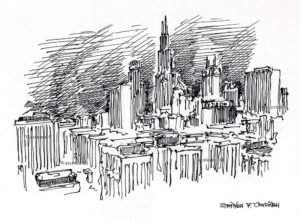 Chicago skyline pen & ink drawing of the Loop by Condren.