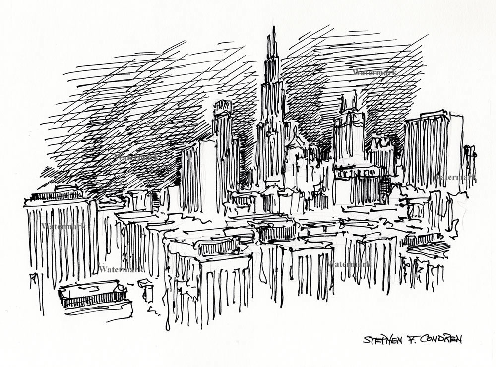 Chicago skyline pen & ink drawing of the Loop by Condren.