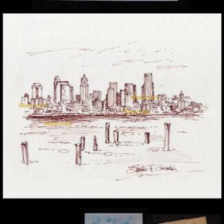 Seattle downtown skyline pen & ink drawing on Elliott Bay.