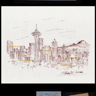 Seattle skyline pen & ink drawing with Mt. Rainier.