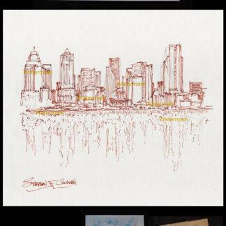 Seattle skyline brown pen & ink of downtown on Elliott Bay.