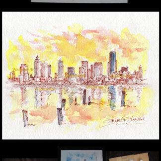 Seattle skyline pen & ink watercolor on Elliott Bay at sunset.