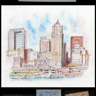 Seattle skyline pen & ink watercolor of downtown.