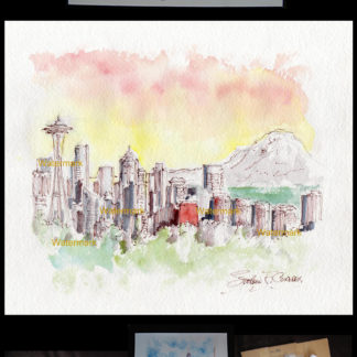 Seattle skyline pen & ink watercolor with Mt. Rainier sunset.