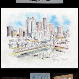 Seattle skyline pen & ink watercolor on Alaska Viaduct.