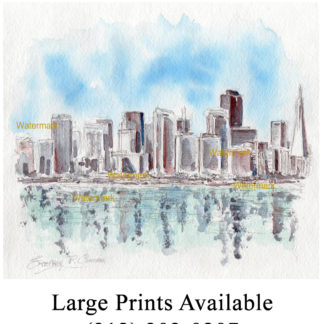 San Francisco skyline pen & ink watercolor of downtown.